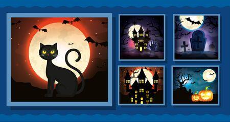 set cards with halloween scenes vector illustration design Ilustração