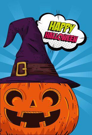 halloween pumpkin with hat witch pop art style vector illustration design