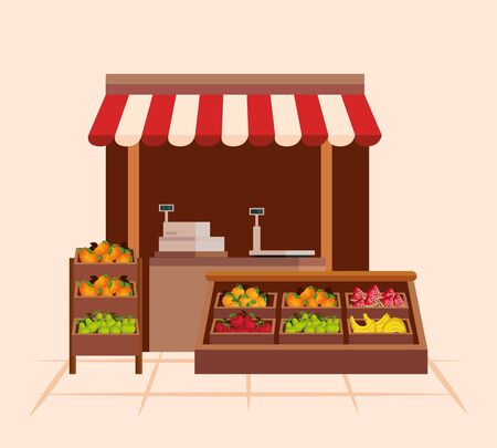 healthy vegetables and fruits nutrition products to natural store, vector illustration