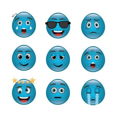 bundle of emoticons with expressions vector illustration design Ilustração