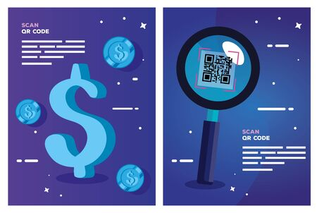 set poster of scan code qr and icons vector illustration design