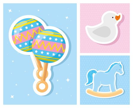 set cute icons of baby shower vector illustration design