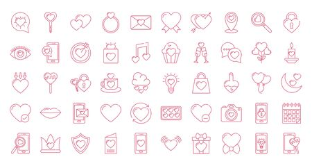 Icon set design of love passion romantic valentines day wedding decoration and marriage theme Vector illustration