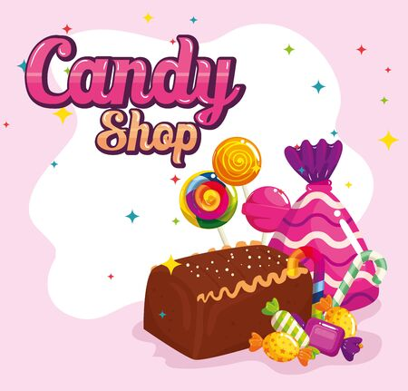 poster of candy shop with chocolate cake and candies vector illustration design