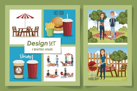 six designs of picnic scenes with delicious food and people vector illustration design Ilustração