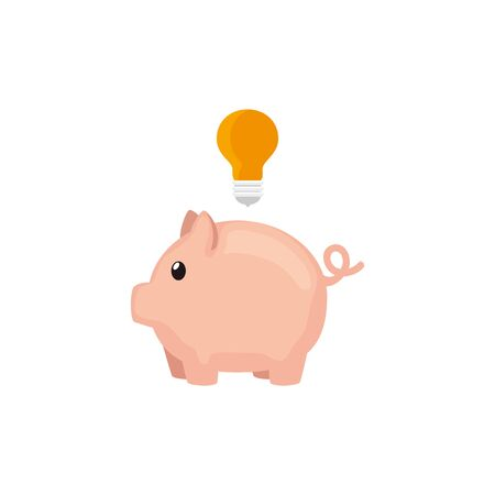 piggy bank with light bulb isolated icon vector illustration design
