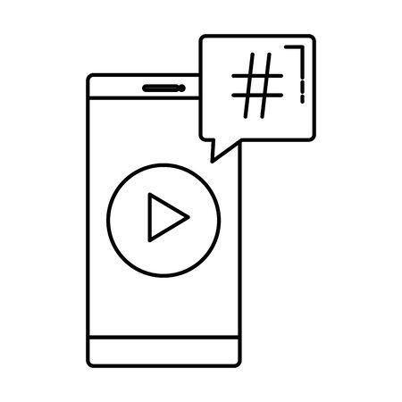 smartphone with speech bubble hashtag symbol vector illustration design