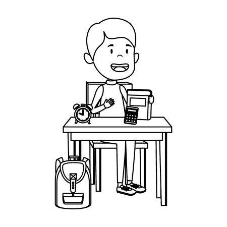 happy student boy with supplies seated in school desk vector illustration design