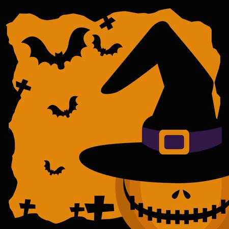 halloween pumpkin with hat witch and bats flying vector illustration design Ilustração