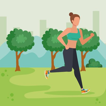 woman running sport activity in the cityscape with trees and bushes, vector illustration