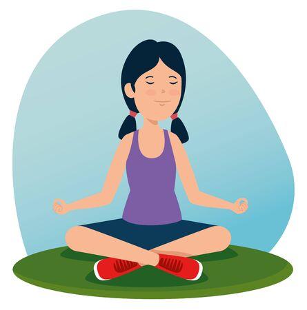girl training yoga healthy exercise to summer sport vector illustration