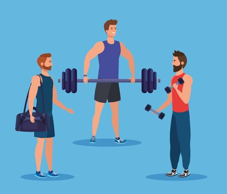 set of fitness men with bag and weight with dumbbells over blue background, vector illustration Ilustracja