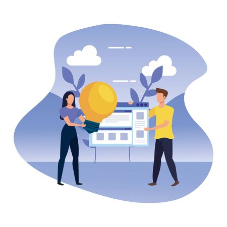 young couple with web page and light bulb in landscape vector illustration design