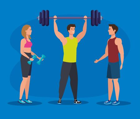 fitness woman with dumbbells and men with weight over blue background, vector illustration