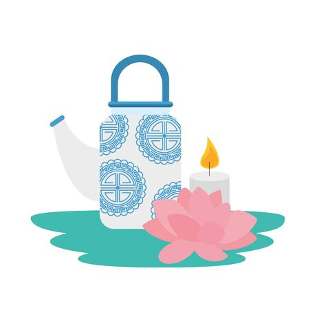 traditional chinese teapot with lotus flower and candle vector illustration design