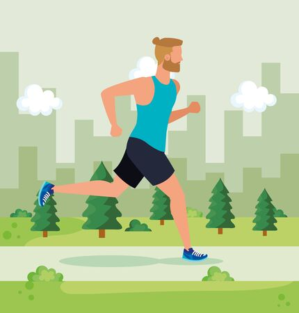 man running lifestyle sport activity with pines trees and bushes, vector illustration Ilustracja