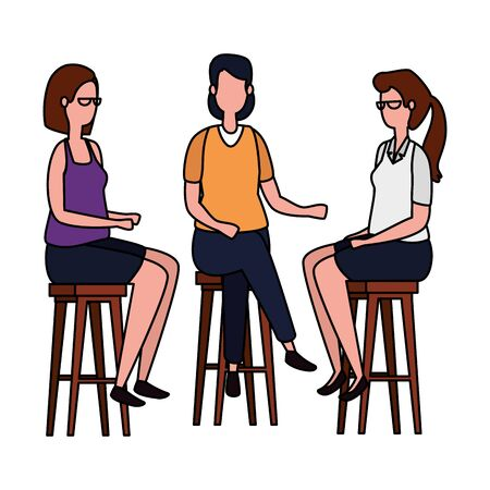 elegant businesswomen seated in benchs vector illustration design
