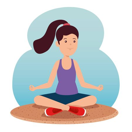 girl practice healthy yoga exercise to summer sport vector illustration