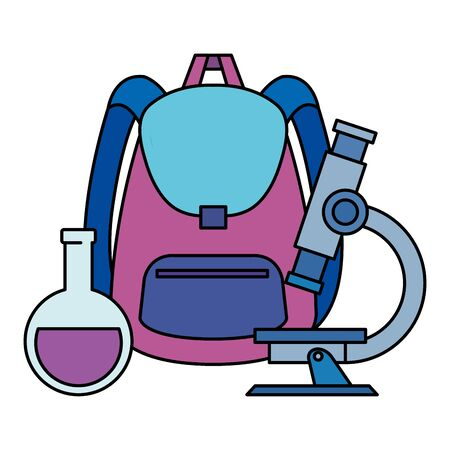 school bag supply with microscope and tube test vector illustration design