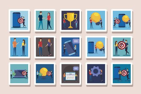 bundle of business icons and people vector illustration design
