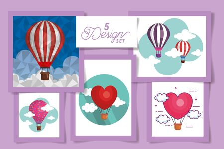Five designs of hot air balloons and clouds of Transportation adventure freedom journey travel up airship and trip theme Vector illustration