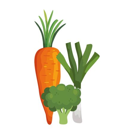 fresh carrot with broccoli and leek vector illustration design Vectores