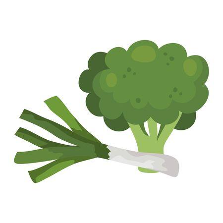 fresh broccoli with leek vegetables vector illustration design