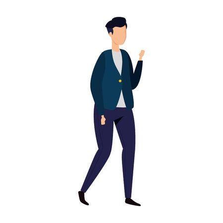 young man walking avatar character vector illustration design Ilustração