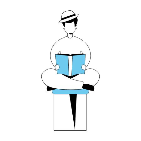 young man with book avatar character vector illustration design