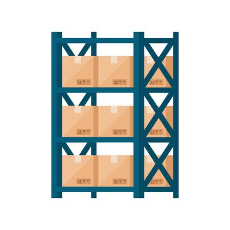 warehouse metal shelving with boxes isolated icon vector illustration design