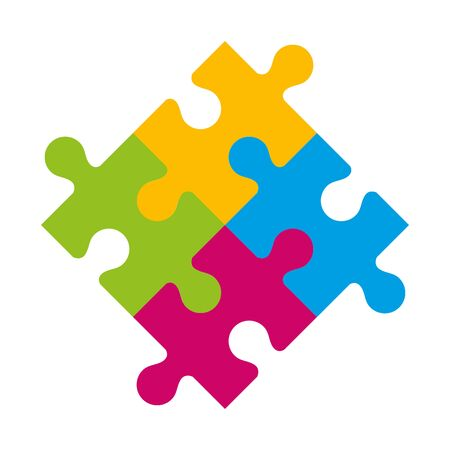 set of puzzle pieces icons vector illustration design Vector Illustration