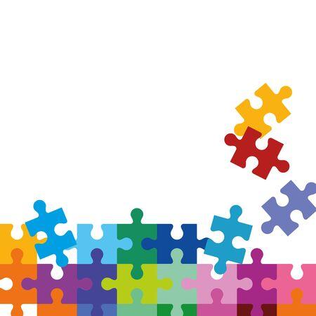 set of puzzle pieces icons vector illustration design Ilustración de vector