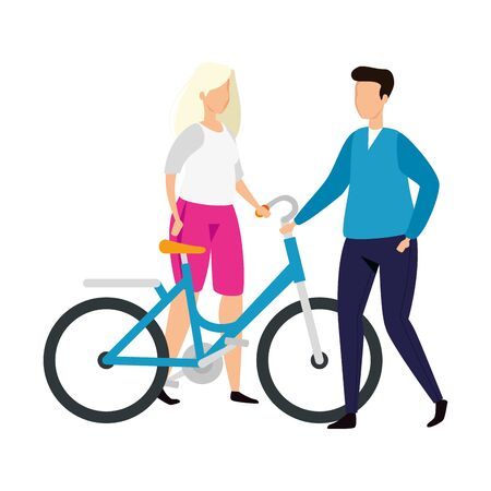 couple with bike avatar character icon vector illustration design