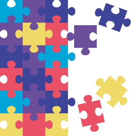 set of puzzle pieces icons vector illustration design