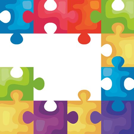 frame of puzzle pieces icons vector illustration design