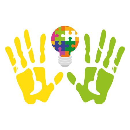 handprints with light bulb of puzzle pieces vector illustration design