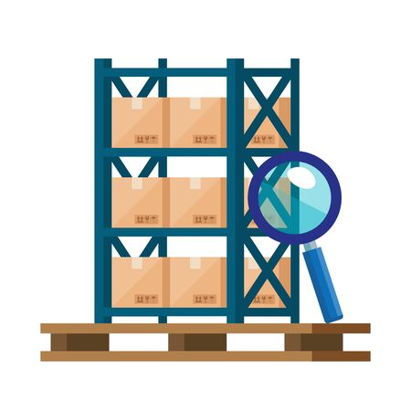 warehouse metal shelving with boxes and magnifying glass vector illustration design