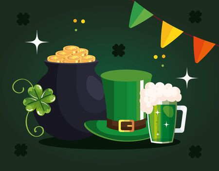 Set icons of saint patricks day with decoration