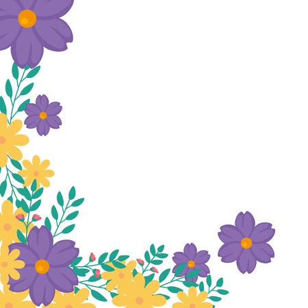 Frame of flowers yellow and purple with leafs vector illustration design