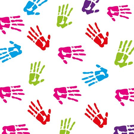 Hand prints of colors icons on white