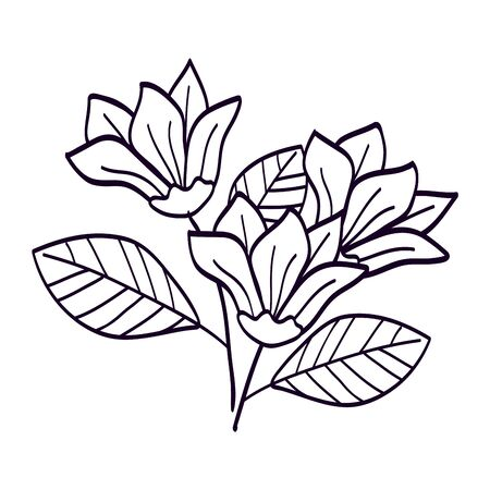 Flower with branches and leafs line style on white