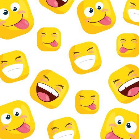 background of funny square emoticons vector illustration design