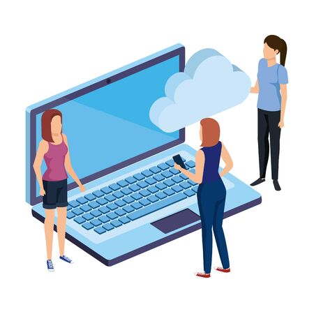 women with laptop and cloud computing vector illustration design