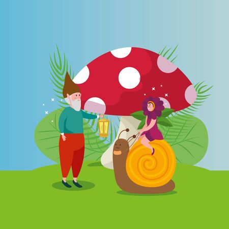 cute snail with dwarf in scene fairytale vector illustration design