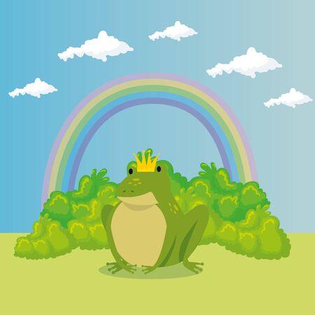 cute toad with rainbow in scene fairytale vector illustration design Illustration