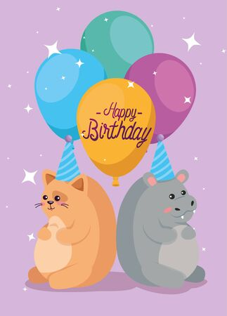 cat and hippopotamus animals with balloons and party hat to happy birthday, vector illustration