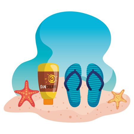 flip-flop with suncream and starfishes in the beach sand to summer time vector illustration