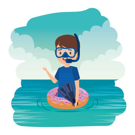 cute little boy with donut float and snorkel in the sea vector illustration design