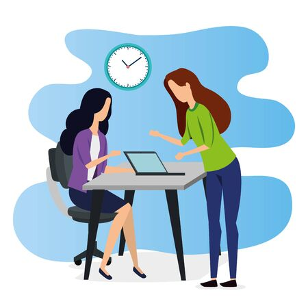 professional businesswomen teamwork with laptop and clock to strategy plan, vector illustration