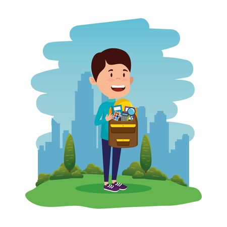happy student boy with schoolbag in the field vector illustration design